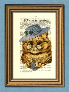 Items similar to WINTER IS COMING For Cats Too - Dictionary art print - Nursery art - Vintage art - book page print recycled - Art Print Dictionary on Etsy Dictionary Art, Winter Is Coming, Buy 1, Lion Sculpture, Wall Decor, Statue, Art Prints, Unique Jewelry, Handmade Gifts