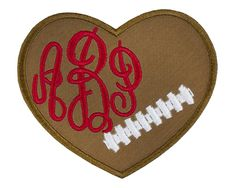 Football Heart Monogram Personalized Patch Name Patches, Sew On Patches, Iron On Patches, Football Heart, Football Fans, Monogram, Embroidery, Sewing, How To Make