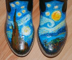 Van Gogh Starry Night - Kids COWBOY Boots - UPCYCLED on Etsy, $35.00