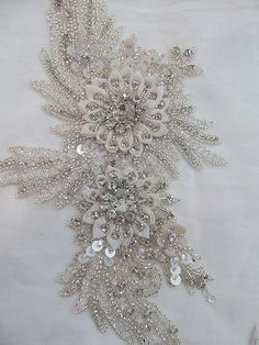 1 Swarovski Crystal Beaded Wedding Gown Applique by allysonjames, $128.98
