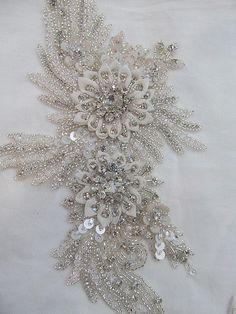 1 Swarovski Crystal Beaded Wedding Gown Applique by allysonjames, $128.98