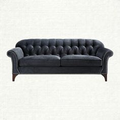 "Preston 87"" Tufted Upholstered Sofa In Vernon Smoke 