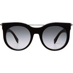 Alexander McQueen Piercing Bar Round Frame Sunglasses found on Polyvore featuring accessories, eyewear, sunglasses, glasses, black, gradient tint sunglasses, round sunglasses, tinted lens glasses, alexander mcqueen and gradient sunglasses