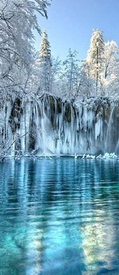 How cool would this winter landscape be to paint? We think not rinsing your brush between strokes would make for some cool icicle effects!  Winter at Plitvice Lakes National Park in Croatia