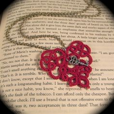 Tatted Pendant  Key to My Heart  Crimson by TotusMel on Etsy, $15.00