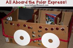 The Polar Express is one of my favorite books. Building the Polar Express is one of my favorite activities to do with children. Preschool Lesson Plans, Preschool Books, Preschool Crafts, Polar Express Activities, Polar Express Theme, Childrens Christmas, Christmas Crafts, Kathy Griffin, Snow Days