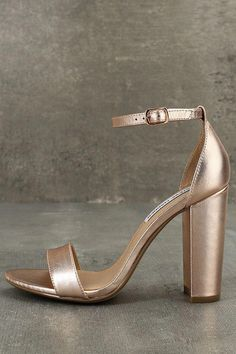 wholesale dealer c5859 eaa05 The Steve Madden Carrson Rose Gold Leather Ankle Strap Heels are on fire  with a simple