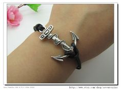 Adjustable Vintage Silver Bacelet  Black Anchor  by sevenvsxiao, $3.99