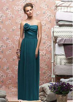 Stunning Satin Chiffon Sheath Strapless Bridesmaid Dress