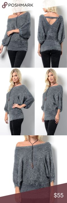 BELLA Softest Sweater Top - CHARCOAL Super soft furry sweater top. 65% poly, 35% acrylic Bellanblue Tops