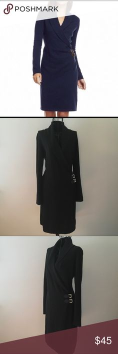 🆕Listing! 💨Chaps sweater dress💨 Sophisticated and stylish black sweater dress with faux leather buckle accents by Chaps Ralph Lauren. Surplice V-neck shawl collar. Unlined. Cotton/Acrylic/Nylon blend. Great condition. Chaps Dresses Midi