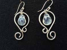 Sterling Silver Wire or Aluminum Wire with Faceted Crystal Glass Bead Drop Earrings