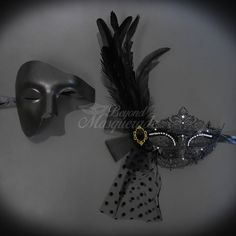 Couples Masquerade Mask Black Mardi Gras Mask Set Masquerade