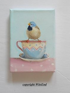 Bird Teacup painting original childs vintage Tin cup and finch by WitsEnd via Etsy