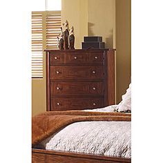 @Overstock.com - This exciting contemporary chest represents the artistic skill of veneering with prima vera wrapped edges and zebrano accents. This bedroom furniture offers a warm chestnut finish.http://www.overstock.com/Home-Garden/Somerton-Runway-Chest/5990136/product.html?CID=214117 Add to cart to see special price