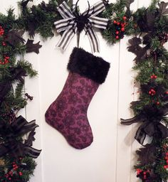 Purple with Black Lace Christmas Stocking