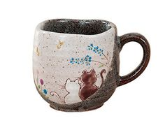 Hidamari Cats Kutani yaki 3.1inch Mug Brown Ceramic ** Find out more details by clicking the image : Cat mug