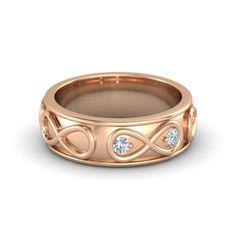 14K Rose Gold Ring with Diamond | Wide Infinite Love Ring