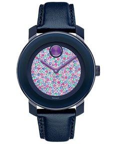 Movado Women's Swiss Bold Navy Leather Strap Watch 36mm 3600263