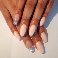 I like how the two glittery nails are clear, the rest nude.