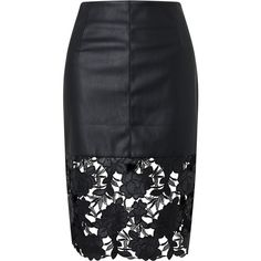 75d2f81ee Darling London Suki Faux Leather Fitted Skirt, Black (390 MYR) ❤ liked on