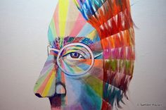 John Lennon PSY Portrait by Sameer Hazari, via Behance