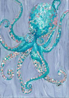 Aqua Blue Octopus Giclee Coastal Wall Print