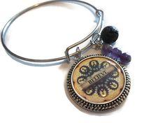 Believe Affirmation Bracelet, Mandala Essential Oil Bracelet, Bangle Bracelet, Spiritual Lava Rock Diffuser Charm Bracelet, Aromatherapy