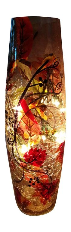 Beautiful lighted vase to add a festive fall touch to your home or office decor!