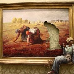 Here's Banksy's version of Jean-François Millet's The Gleaners one of the paintings in his exhibition Banksy v Bristol Museum. Classic French style, classic Banksy visual deception adapted to the interior of an art gallery. Banksy Quotes, Art Banksy, Bansky, Banksy Artwork, Banksy Paintings, Banksy Canvas, Graffiti Quotes, Oil Paintings, Painting Art