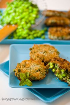 Panko Crusted Pea Fritters (Aloo Muttar Tikki) with Tamarind Jelly // Recipe by SALA @ VEGGIE BELLY -- I love this food blog!