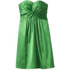 Women's Strapless Twist Front Sweetheart Sateen Dress - Assorted... (32 AUD) ❤ liked on Polyvore featuring dresses, tops, ulster green, women's clothing, strapless cocktail dresses, night out dresses, green strapless dress, strapless party dresses and party dresses