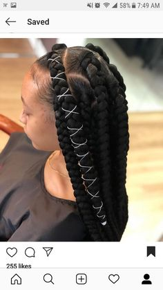 Back to school braids ♥️💍🤤 Big Box Braids Hairstyles, Black Girl Braided Hairstyles, Braids Hairstyles Pictures, Baddie Hairstyles, African Braids Hairstyles, Hair Pictures, School Braids, Jumbo Box Braids, Box Braids Styling