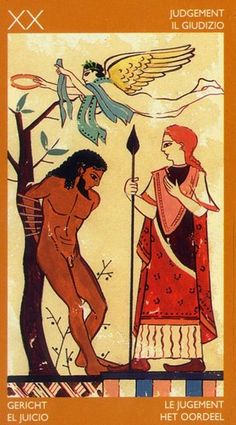 Judgment - Etruscan Tarot by Silvana Alasia Ancient Greek Art, Ancient Greece, Ancient History, Judgement Tarot Card, Minoan Art, Renaissance, Black History Facts, Illustration, Major Arcana