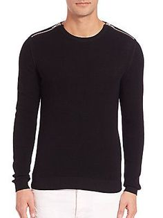 The Kooples Zip Cotton Pearl-Stitch Sweater - Black - Size X Large