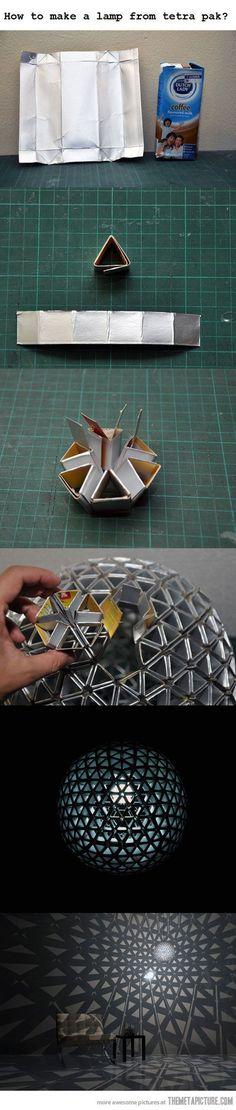Lamp made from juice cartons.