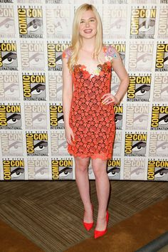 Pin for Later: Style Was the Real Superhero at This Year's Comic-Con Elle Fanning Elle Fanning in Christopher Kane at The Boxtrolls press line.