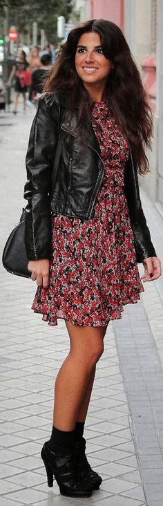 Floral dress with a black leather jacket