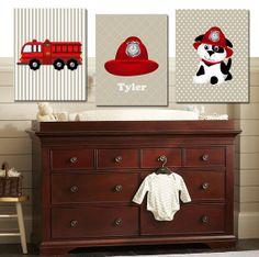 Fire Truck Personalized Children's Name Print Set- Nursery Room Decor- Boy Wall Art -  3- 11X14 Prints- Kids Wall Art- Dog Art Print
