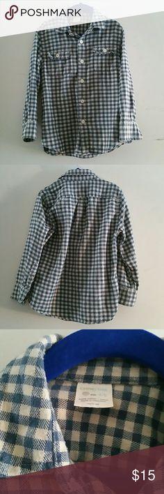 Boy's J.Crew Crewcuts checkered shirt Gray-Blue checked long sleeved 100% cotton shirt J.Crew Crewcuts  Shirts & Tops Button Down Shirts