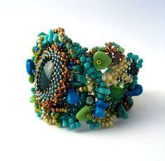 Beaded jewelry Freeform Peyote Beaded Cuff Bracelet by ibics, $82.00