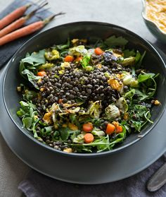 Beluga Lentils with Crispy Brussels Sprout Leaves, Carrots, & Fennel with Ginger Dressing