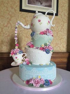 Afternoon tea party wedding cake