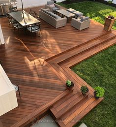 Backyard Patio Designs, Backyard Landscaping, Garden Decking Ideas, Small Backyard Decks, Landscaping Around Deck, Ipe Decking, Hardwood Decking, Back Garden Design, Outdoor Living
