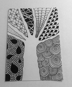 To study positive and negative space we are drawing trees. The positive space is the tree. The negative space is all the space around the tree. You may use zentangle designs to fill the positive or. Doodle Patterns, Zentangle Patterns, Zentangles, Zendoodle, Arte Elemental, Classe D'art, Ecole Art, Middle School Art, High School
