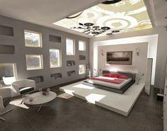 faux plafond chambre aménager idée lit design table basse