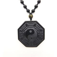 Ice Hair Natural Obsidian Fine Carved Lotus Heart Brand Pendants Lucky Amulet Bead Chain Necklace for Women Men Pendants Jewelry