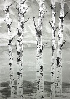River BankDark PaintingBirch TreeOriginal by PattisWatercolor