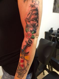Oldschool tattoo,Ship