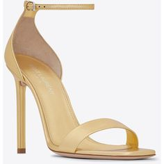 Saint Laurent Amber ankle strap 105 sandal in pale gold metallic... (2,080 PEN) ❤ liked on Polyvore featuring shoes, sandals, metallic gold shoes, gold metallic sandals, yves saint laurent shoes, leather shoes and leather sandals